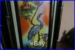 Set Of 2 Vintage Dom Mingolla Enamel Copper Art Plaque Painting Peacock 4x12