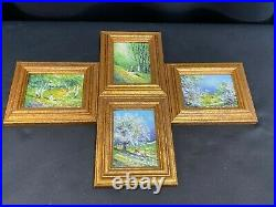Set of 4 Charles Parthesius Signed Enamel on Copper Nature Paintings Miniatures