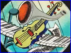 Signed 1940s Kathe Berl Modern Enamel Copper Art Plate Midcentury Jazz Painting