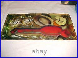 Signed 1962 Modern Enamel Copper Art Tray Midcentury Still Life Painting 13 5/8