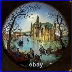 Signed Betourne Limoges 19/30 January Enamel on Copper French Art Framed