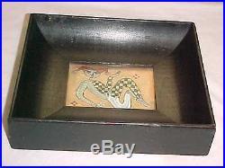 Signed Dane Burr Modern Enamel Copper Art Plaque Painting Midcentury Modernist