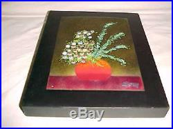 Signed Domingo Block Modern Enamel Copper Art Plaque Midcentury Mexican Painting