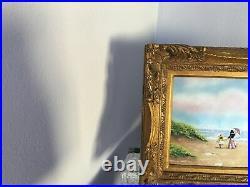 Signed Dominic Mingolla Enamel on Copper Framed Mother Daughter Oceanside Scene