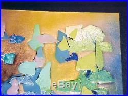 Signed Gella Weihs Modern Enamel Copper Art Plaque Midcentury Abstract Painting
