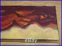 Signed Henry Cote Modern Enamel Copper Art Plaque Abstract Grand Canyon Painting