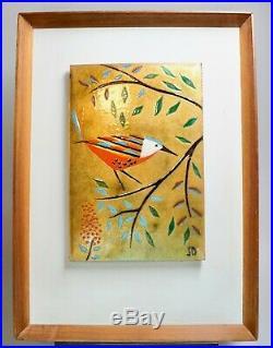 Signed Judith Daner Enamel on Copper Painting Bird on a Limb 13.5 x 18.5 EUC