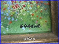 Signed Karen Greene Enamel On Copper Painting Girl Watering Can By Sea Sailboat