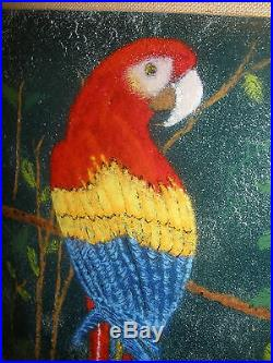 Signed Large Copper Enamel Macaw Parrot Painting By John Shaw