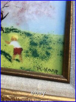Signed MAX KARP 4 Seasons Set Enameled Porcelain Listed Artist