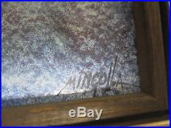 Signed Mingolla Framed Enamel On Copper Painting 2 Tall Ships At Sea 12 X 9