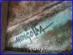 Signed Mingolla Large 15.75 Enamel On Copper Painting 2 Little Girls By Forest