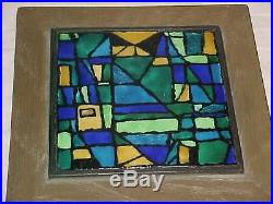 Signed Modern Midcentury Abstract Enamel Copper Painting Plaque Geometric Art Nr