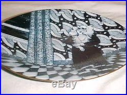 Signed Natalie Silverstein Modern Grisaille Enamel Copper Art Painting Plate Wow