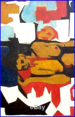 Signed Original 1960S Framed MODERNIST NUDE Enamel-on-Canvas, By Belita Lewis