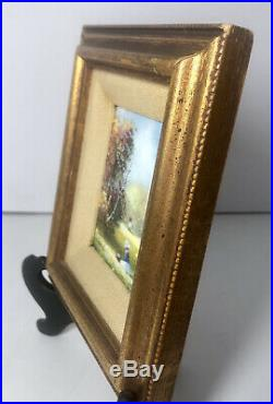Signed Parthesius Enamel On Copper Miniature Framed Painting Girl In Field Kite