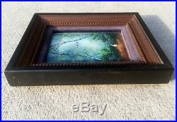 Signed Parthesius Enamel On Copper Miniature Framed Painting Girl In Forest