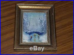 Signed Parthesius Enamel On Copper Miniature Framed Painting ice skating