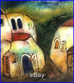 Signed Vintage Enamel Copper Modernist Abstract Building Study Picture Painting