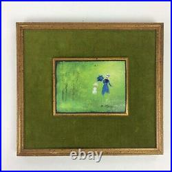 Small Framed Max Karp Enamel Painting on Copper Woman & Child Artwork Outdoors