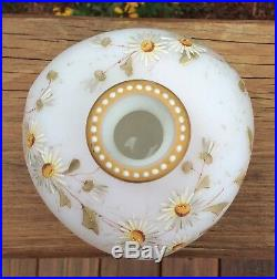 Smith Brothers Satin Art Glass Hand Painted Enameled Vase