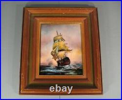 Spaceship Antique Sailboat Ship On the Waves Enamel Art Limoges Signed Granger
