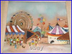 Steffy Auerbach Modern Enamel Copper Art Painting Plaque Florida State Fair