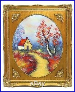 Stunning Vintage Enamel On Copper Painting House Stream David Karp -Son Of Max