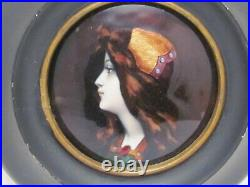 Superb Antique Hand Painted French Enamel Female Portrait 1890