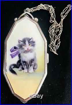 Superb Art Deco Antique Hand Painted Enamel Cat Vanity Purse