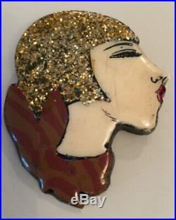 Superb Vintage Art Deco Glitter Enamel Painted Flapper Girl Profile Brooch Pin