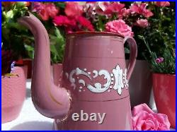Superb antique french enameled coffee pot pink golden hand painted 1930 Art Deco