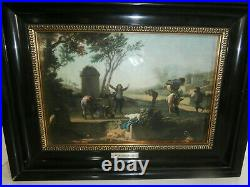 THE DWARVES by FRENCH PAINTER'M. A HOUASSE' ENAMEL PAINTING / WALL PLAQUE FRAMED