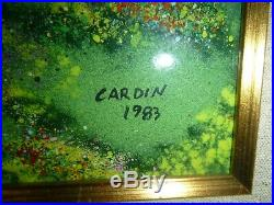 TWO Louis Cardin Enamel on Copper Art Pieces Signed Museum Quality Frame COA