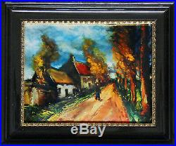 The road lined with red trees Miniature on enameled copper (Vlaminck)