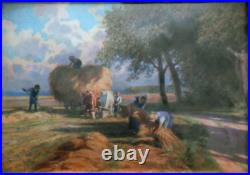 The wheat harvest, Miniature on enameled copper plate (English School)