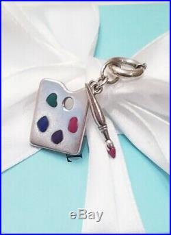 Tiffany & Co Silver Paloma Picasso Enamel Paint Brush Art Pallet Charm W Clasp