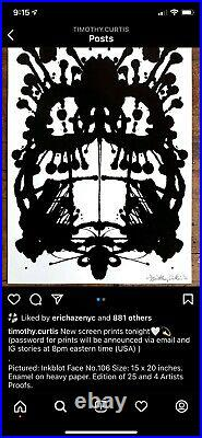 Timothy Curtis Inkblot Face No. 106 Enamel Paint In Hand High Feedback