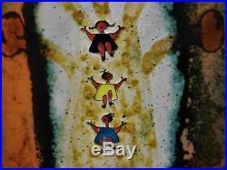 Tina Villanueva Enamel on Copper Original Painting Art 1971 Abstract Children