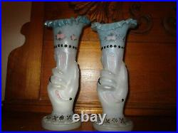 Two 1886 11 Hand Painted Enamel Bristol Art Glass Hand Vases Mouth Hand Blown