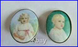 Two Early 20th Century Silver Framed Porcelain Portraits of a Child C1915