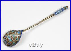 Two Russian silver with cloisonne enamel tea spoons ca. 1888