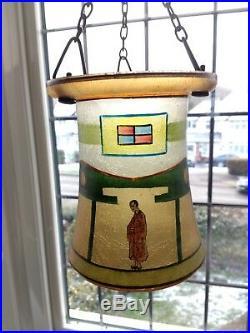 Unusual Art Deco Hand Painted Enamels on Glass Lamp Light Shade Oriental Scene