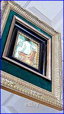 VINTAGE! 931c GERMAN NUDE WOMAN ENAMEL ON COPPER PAINTING IN DOUBLE GILT FRAME