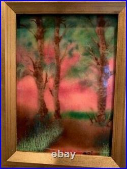 VINTAGE Enamel on Copper Trees Forest Landscape Painting by Cri Framed
