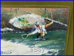 VINTAGE FLY FISHING ENAMEL ON COPPER PAINTING JACK PRAGER 1950's SAN FRANCISCO