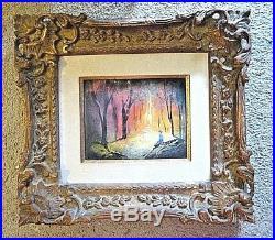 VTG ENAMEL on COPPER Original Painting ORNATE FRAME Boy Forest NIGHT FANTASY