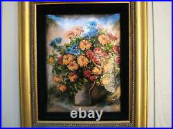 VTG Limoges France Enamel on Copper Plaque Vase of Flowers Painting by R Leclair