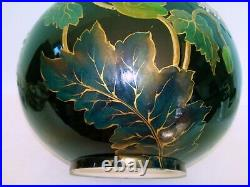 Vase Enamel Faience KG Lunéville New Art Flowers And Insect Painted Hand 1880