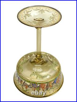Venetian Amber Art Glass Hand Painted Enamel Compote